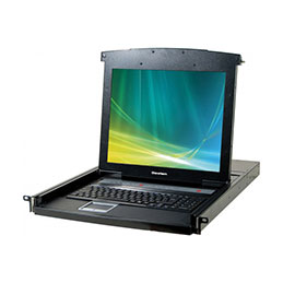 DEXLAN CONSOLE LCD KVM CAT5 4 PORTS + DONGLES VGA/USB 30m