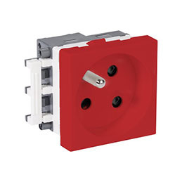 REHAU PRISE ELECTRIQUE SIMPLE 2P+T 45x45 ROUGE DETROMPEE