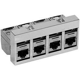 Bloc 4 x RJ45 CAT 6A STP équipé (photo)