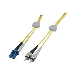 Jarretière à repérage lumineux duplex OS2 9/125 LC-UPC/ST-UPC jaune - 1 m (photo)