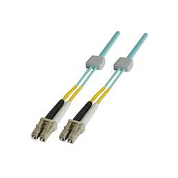 Jarretière à repérage lumineux duplex OM3 50/125 LC-UPC/LC-UPC aqua - 1 m (photo)
