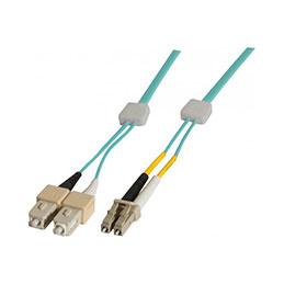Jarretière à repérage lumineux duplex OM3 50/125 LC-UPC/SC-UPC aqua - 3 m (photo)
