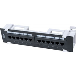 Panneau 12 ports RJ45 CAT5E equipé fixation mural (photo)