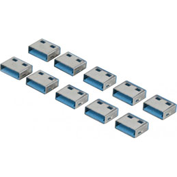 Lot de 10 bouchon-cadenas USB type A Codage bleu (photo)