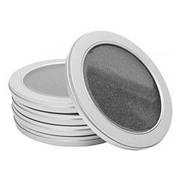 Pack 5 boitiers metal rond avec fenetre pour 1 cd (photo)