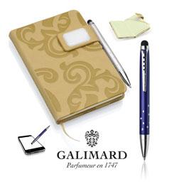 Set bloc-notes GRACE beige/stylo à bille touch STAR de GALIMARD (photo)