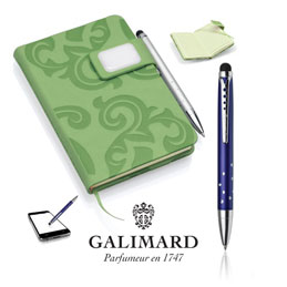 Set bloc-notes GRACE vert/stylo à bille touch STAR de GALIMARD (photo)