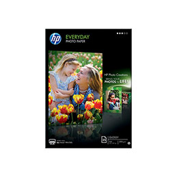 HP Everyday Photo Paper - papier photo brillant - 8 millièmes de pouce - A4 (210 x 297 mm) - 200 g/m2 - 25 feuille(s) - pour Deskjet 2050 J510, 3050 J610; Envy 100 D410, 11X D411; Photosmart 65XX B211, 7510 C311 (photo)