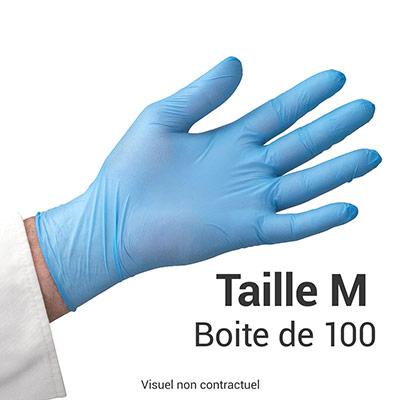 Gants Nitrile Taille M - Boite de 100