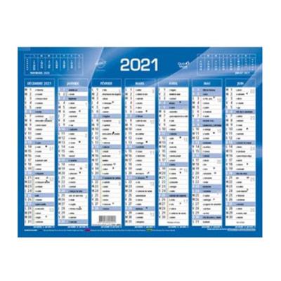 Calendrier 2022 - 7 mois par face - format: 21x27 cm - bleu
