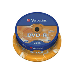 Verbatim - 25 x DVD-R - 4.7 Go 16x - argent mat - spindle (photo)