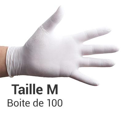 Gants en Vinyle poudrés sans latex - blancs - taille M - Boite de 100