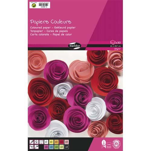 bloc de 30 feuilles de papier couleur 130g clairefontaine format a4 couleurs assorties. Black Bedroom Furniture Sets. Home Design Ideas