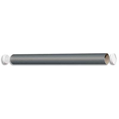 Embouts emboîtables en plastique blanc avec languette de préhension à chaque extrémité du tube qui permettent de fermer et ouvrir rapidement Carton spiralé recouvert de papier gris qualité 72 gm2 Carton recyclable Tube dexpédition en carton gris 72g