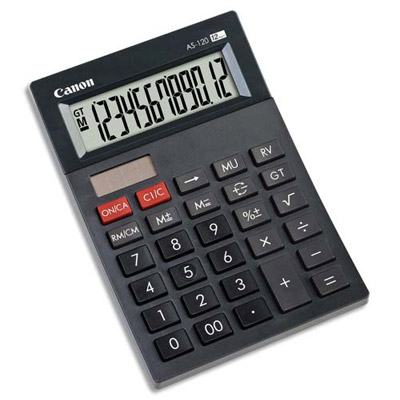 Canon calculatrice as 120 8 chiffres Alimentation solaire et piles Canon calculatrice as 120 4582b001