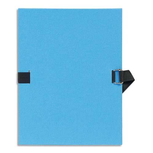 Chemise à dos extensible avec sangle Format 24 x 32 qualité toilée Coloris Bleu clair Plats et dos recouvert de papier grainé sangle assortie au coloris du plat boucle métal à coulisseau cranté de couleur bronze Chemise à dos extensible avec sangle