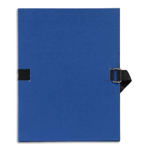 Chemise à dos extensible avec sangle format 24 x 32 qualité toilée Coloris Bleu foncé Plats et dos recouvert de papier grainé sangle assortie au coloris du plat boucle métal à coulisseau cranté de couleur bronze Chemise à dos extensible avec sangle