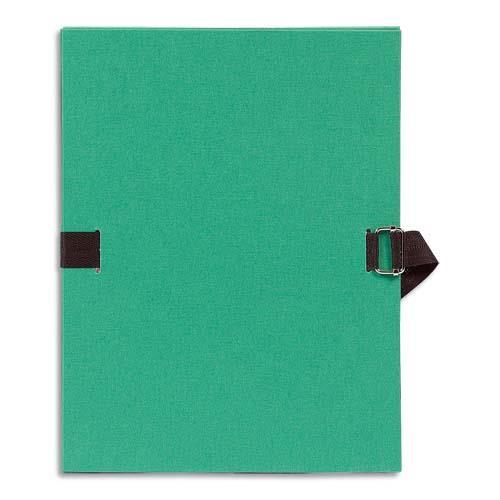 Chemise à dos extensible avec sangle Format 24 x 32 qualité toilée Coloris Vert clair Plats et dos recouvert de papier grainé sangle assortie au coloris du plat boucle métal à coulisseau cranté de couleur bronze Chemise à dos extensible avec sangle