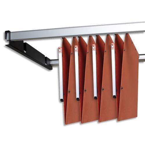 jeu de 2 rails m tal gris avec support noir pour dossiers suspendus armoire achat pas cher. Black Bedroom Furniture Sets. Home Design Ideas