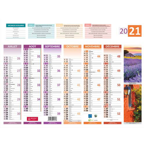 Calendrier 2018 mural grand format th me 4 saisons 55 x for Calendrier mural pas cher