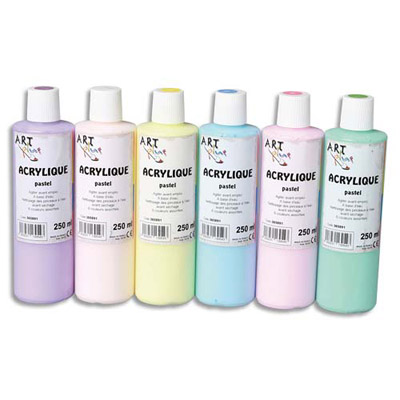acrylique pastel coffret de 6 x 250ml artplus assortiment achat pas cher. Black Bedroom Furniture Sets. Home Design Ideas