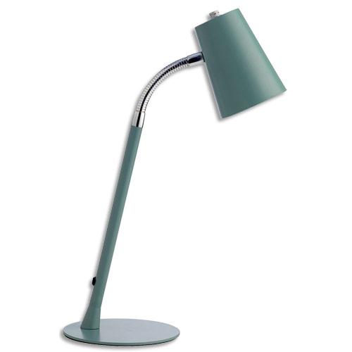 Lampe Led Unilux Flexio Abat Jour Orientable Interrupteur Sur Cordon H43 5 Cm Socle D15 Cm Bleu Acier Details