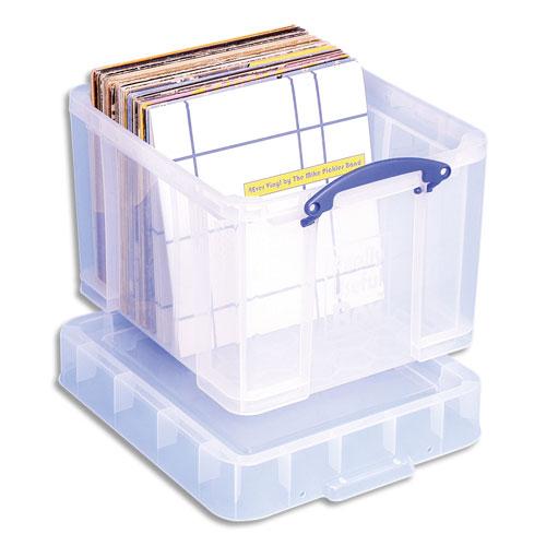 Bac Plastique Really Useful Box 35l L48 X H31 X P31 Cm Extra Large Avec Couvercle Pour Disques Vinyles Transparent Pas Cher Welcome Office