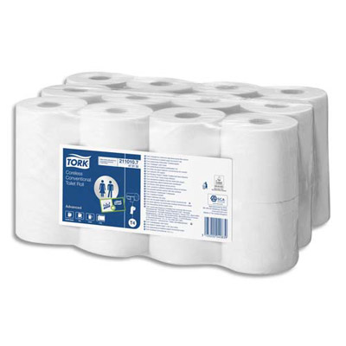 Rouleaux papier toilette tork compact universal sans mandrin 2 plis lot - Papier toilette en gros ...