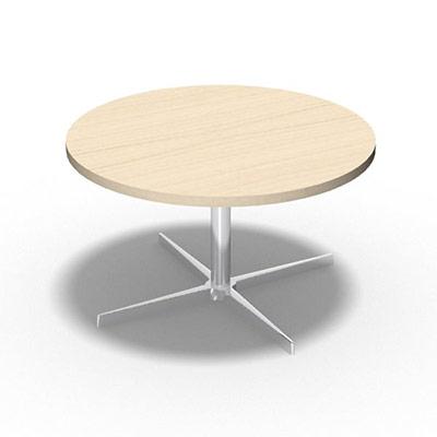 Table Basse Star Ronde O 75 Cm Plateau Decor Erable Blanc Pietement Chrome Pas Cher Welcome Office