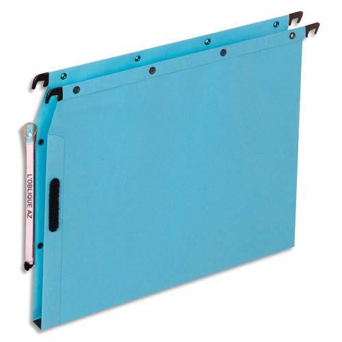 dossiers suspendus en kraft bleu l 39 oblique azl pour armoire fond 15 mm attache velcro. Black Bedroom Furniture Sets. Home Design Ideas