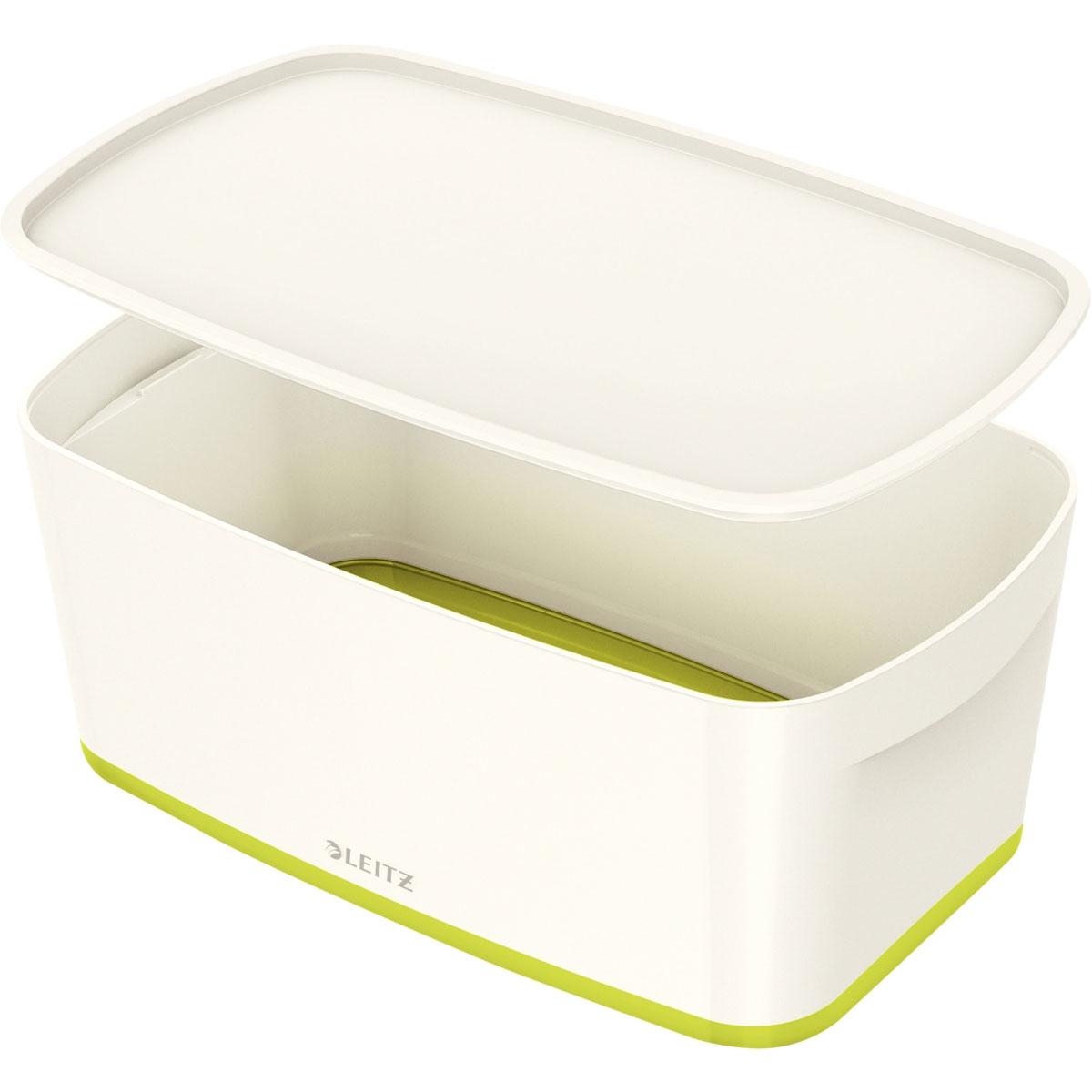 bac de rangement leitz mybox esselte petit format avec couvercle vert achat pas cher. Black Bedroom Furniture Sets. Home Design Ideas