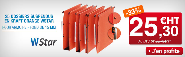 Dossiers suspendus en kraft orange